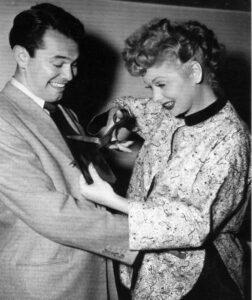 Dann Cahn cutting up with Lucille Ball, circa 1951-52 season of I Love Lucy. Photo courtesy of the Dann Cahn Collection.