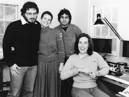Director Lawrence Kasdan, left, assistant editors Mia Goldman and Bruce Cannon, and Carol Littleton in The Big Chill cutting room in 1983. Photo courtesy of Mia Goldman