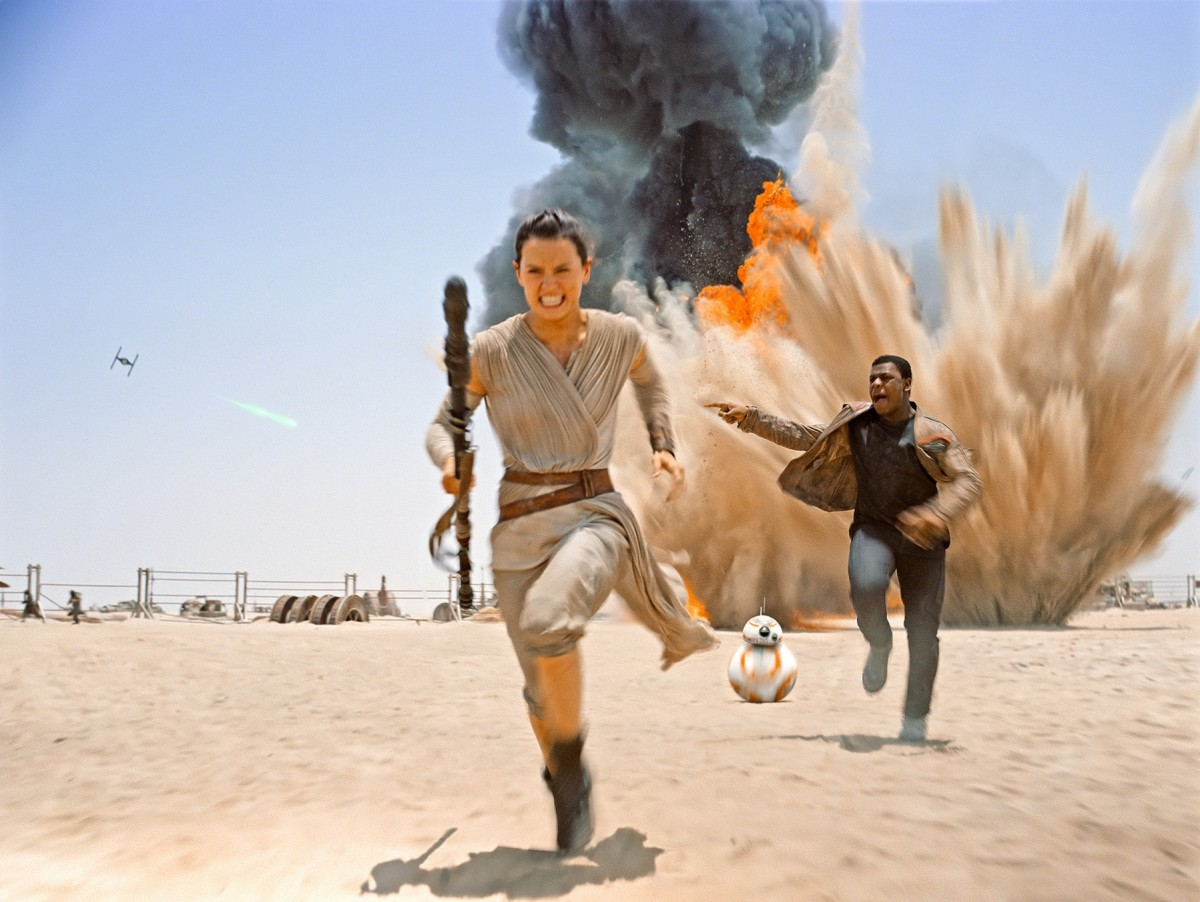 Rey and Finn in Star Wars: The Force Awakens. Courtesy of Disney/Lucasfilm.