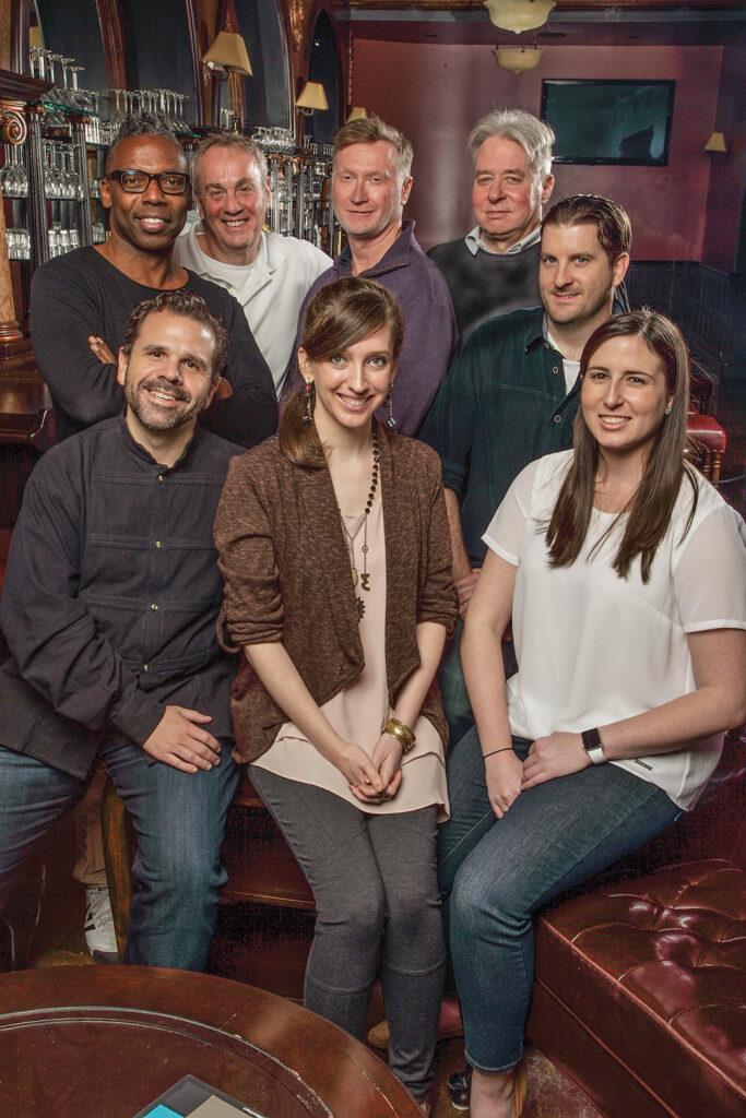 "<em>Clockwise from top left: James Wilcox, editor; Neil Mandelberg, editor; David Beatty, editor; Marty Nicholson, editor; Greg Babor, editor; Susana Benaim, assistant editor; Victoria Grimsley, assistant editor; and Agustin ""Auggie"" Rexach, assistant editor.</em>"