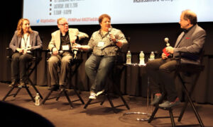 Kate Sanford, left, Leo Trombetta, Kelley Dixon and moderator Michael Berenbaum. Photo by Dan Ochiva