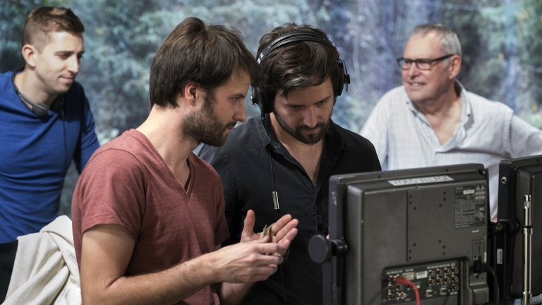 The Duffer Brothers on the set of 'Stranger Things.' Courtesy of NEFLIX
