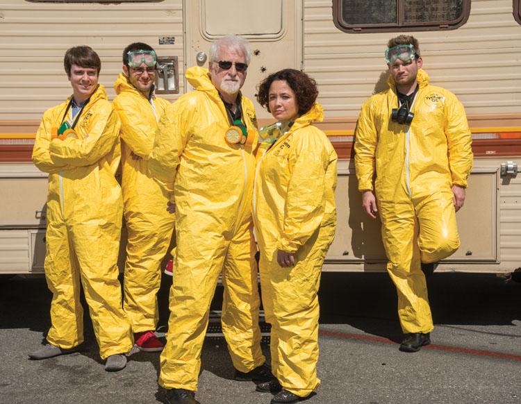 Assistants in hazmat suits: Curtis Thurber, left, Trevor Baker, Mel Friedman, Sharidan Williams-Sotelo and Chris McCaleb.