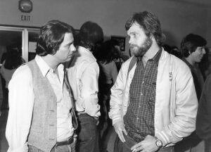 Asst. Executive Director Tony Butka, left, and Ron Kutak (Videotape Organizer), 1981.