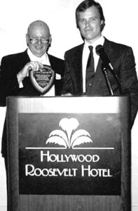 Right: Guild President Irv Rosenblum, 1983-87, and Ron Kutak (Installation Dinner 1988).