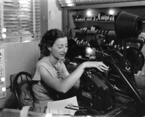 <em>Barbara McLean editing</em> Sing, Baby, Sing <em>at 20th Century-Fox in 1936. <br>Bison Archives</em>