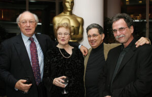 Jerry Greenberg, left, with fellow editors Dede Allen, Craig McKay and Richard Marks at an Academy of Motion Picture Arts and Sciences' tribute to Allen in New York in 2007. Photo by Alex Oliveria/Startraksphoto for AMPAS © AMPAS