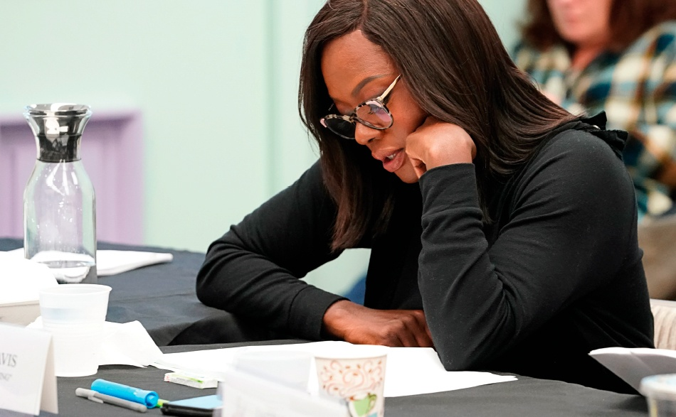 "Viola Davis at a table read for ""Murder"" last year."
