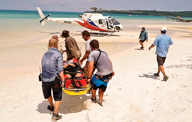 Accidents will happen: Host Jeff Probst and the medical team during the fourth episode of season 32 Survivor Kaoh Rong