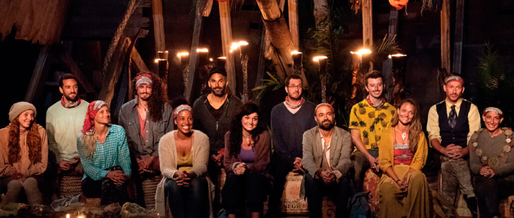 "Contestants at the tribal council on ""Survivor: Edge of Extinction."""