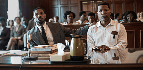 "Michael B. Jordan, Jamie Foxx in ""Just Mercy"""