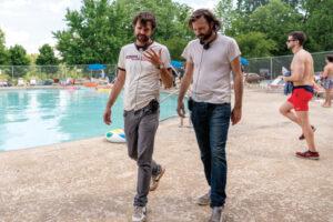 """Ross Duffer and Matt Duffer (right) on the set of """"Stranger Things""""."""