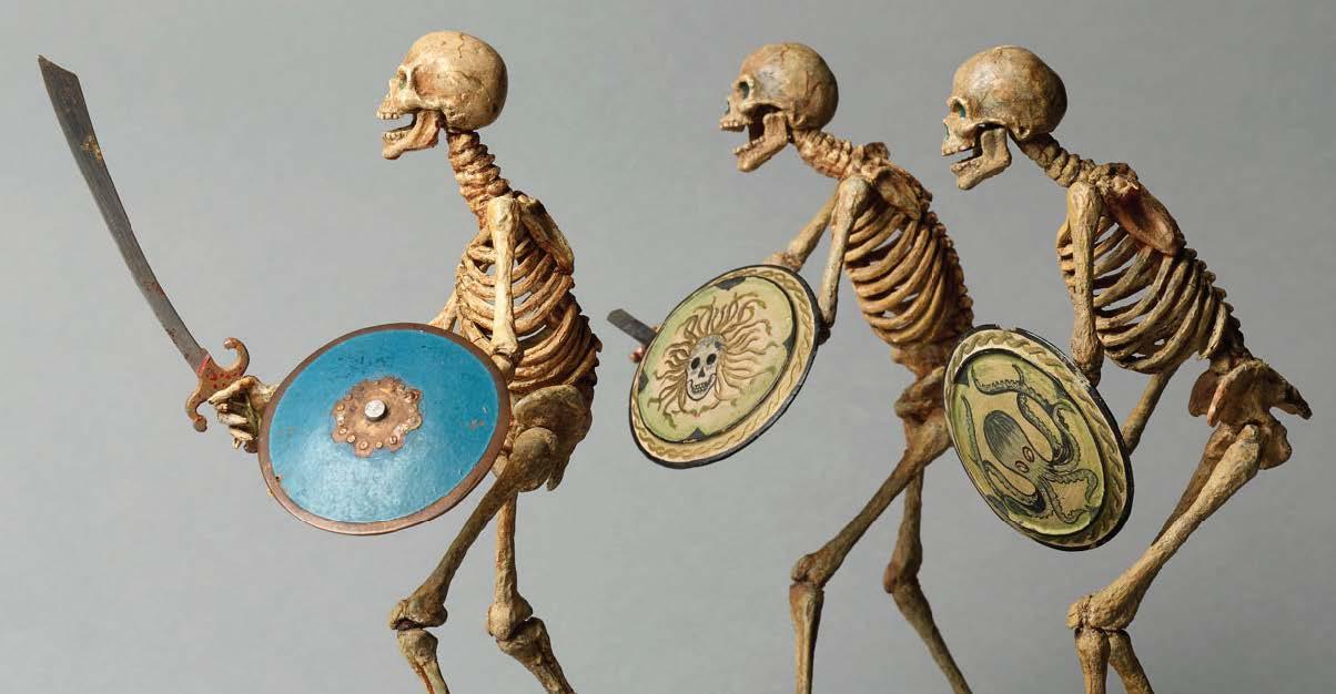 "Harryhausen's famous skeleton warriors for ""Jason and the Argonauts"" in 1963. IMAGE: NATIONAL GALLERIES SCOTLAND"