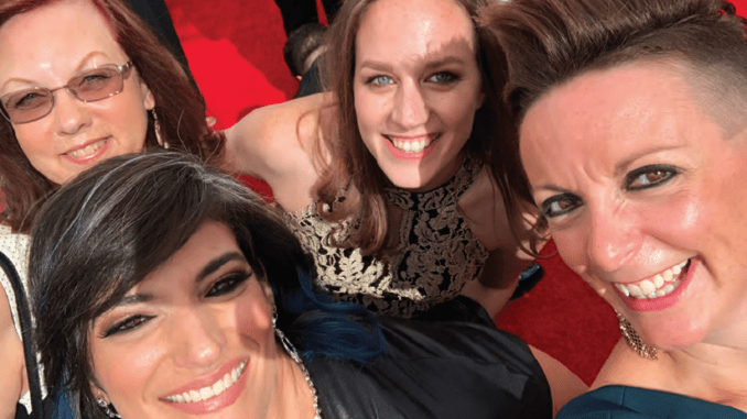 """TOGETHER: Margie O'Malley (left), Ronni Brown, Kim Patrick and Bonnie Wild at the 2018 primetime Emmys, nominated for """"Star Wars Rebels."""" PHOTO: SKYWALKER"""