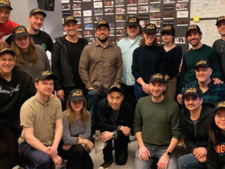 """Director Jon M. Chu (far left) and editor Myron Kerstein (second from left) with post team of """"In the Heights."""""""